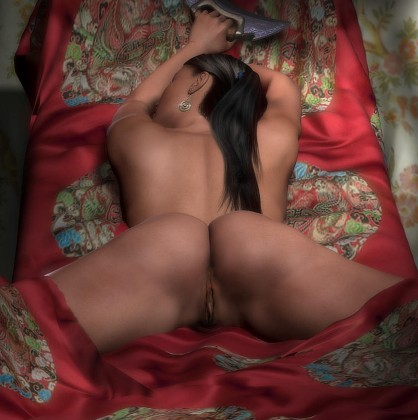 Sleeping brunette shows her pink 3d pussy