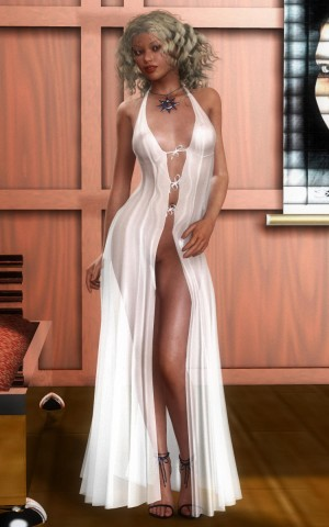 Adult blonde in a luxury evening dress