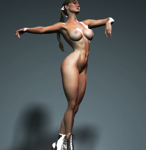 Muscled athletic girl totally naked