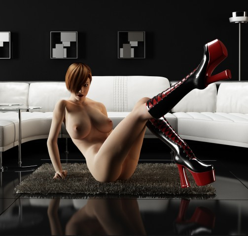 Naked chick wears latex high heels