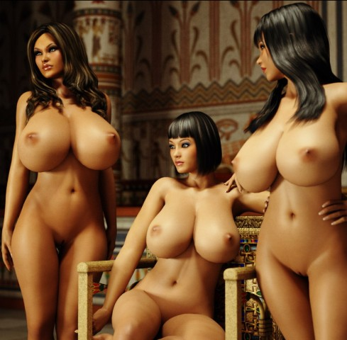 Three chubby chicks with 3d big boobs