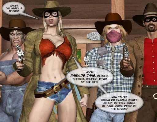 Sexy western thieves with half naked blonde