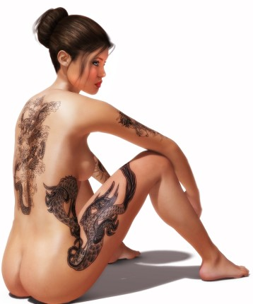Naked brunette model with dragon tattoo