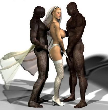 Sexy bride with two big black cocks