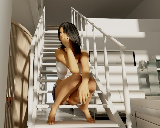 Sexy brunette on the stair without pants