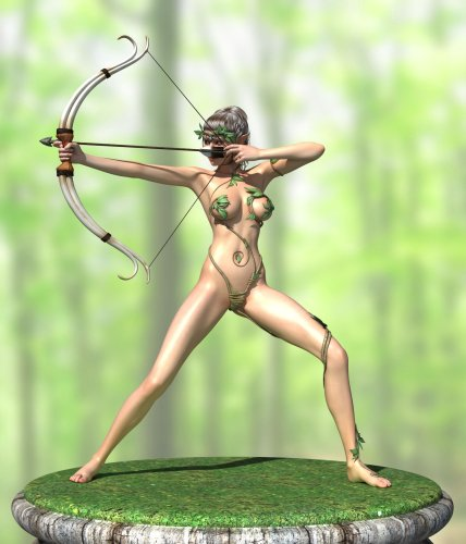 Forest naked fighter with a bow