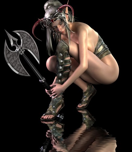 Half naked elf warrior with an axe