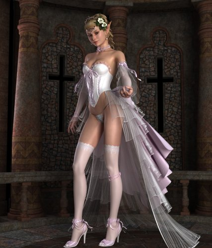 Sexy elf bride in a white gown
