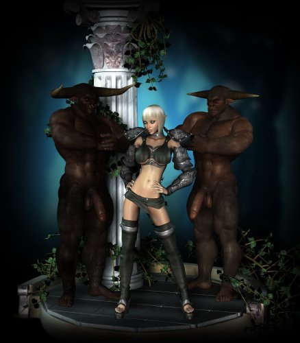 Fantasy girl and two long dicked creatures