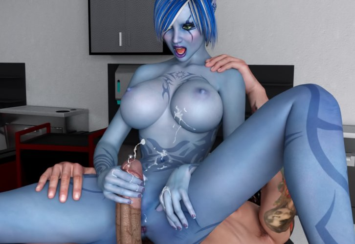 Blue avatar slut jerks off with cumshot