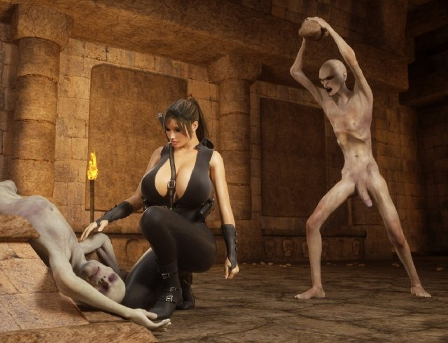 Clever goblins and busty lara croft