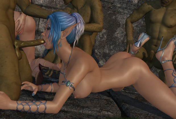Animated fantasy orgy with elves and trolls