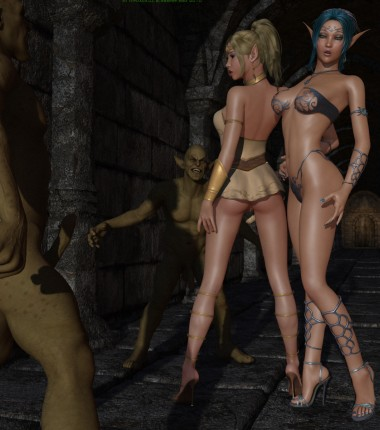 Elf orgy with fantasy princesses and goblins