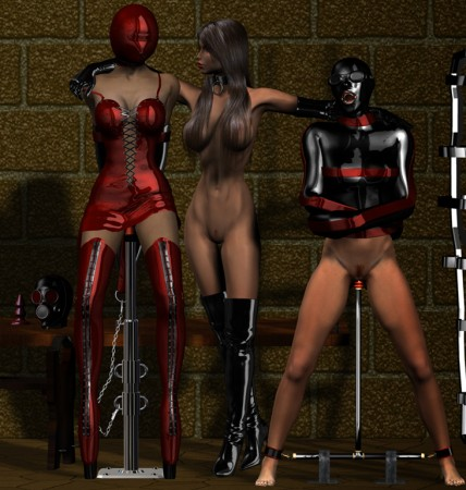 Fetish group sex with latex and rubber perversion