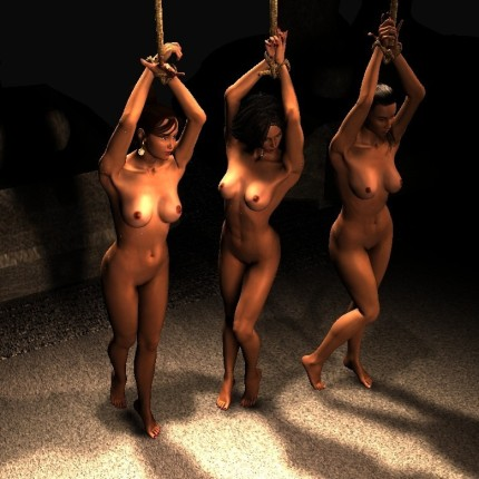 Three hanging slave girls wait for gangbang fuck