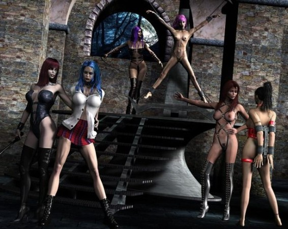 Virtual lesbians prepare to fetish fuck orgy