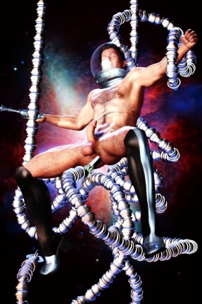 Spaceman gay with tentacle prostate massage