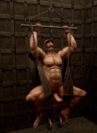 Muscled gay work out at a prison gym