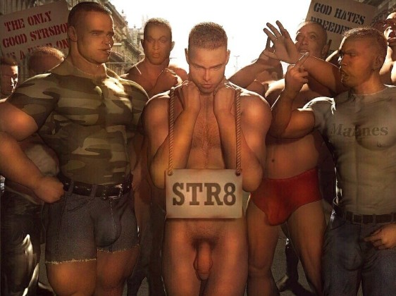 Str8 boy and group of gay soldiers