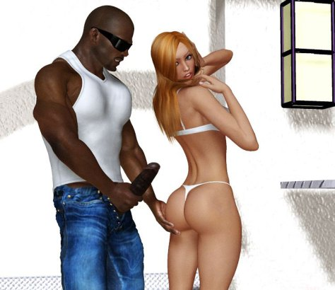 Black body builder shows cock to blonde beauty