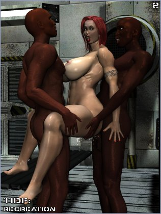 Busty slut takes care of two interracial guys