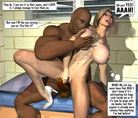 Monster guy fucks busty blonde cartoon girl