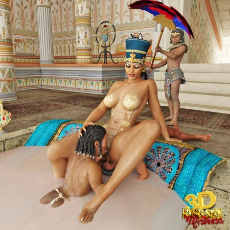 Weak slaves lick pussy of their egypt mistress