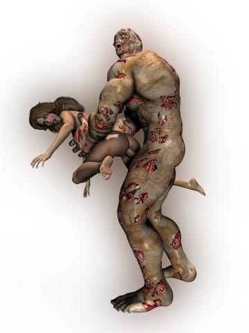 Bloody zombie fucks scared naked babe
