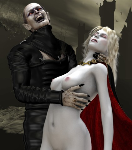 Nightmare dracula drinks blood of naked girl