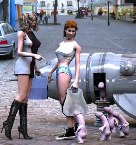 Shopping girls and walking dicks