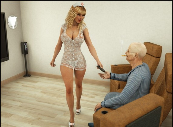 Private nurse takes care of an old dick