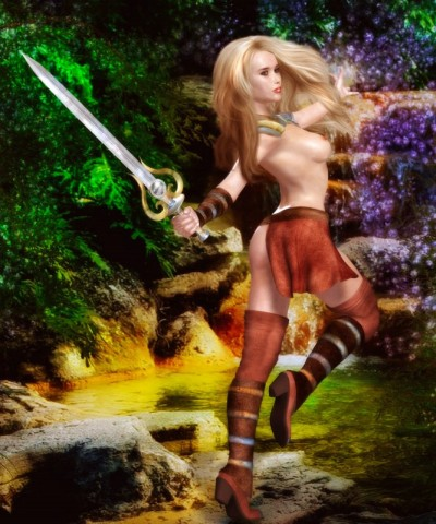 Blonde warrior with a steel sword