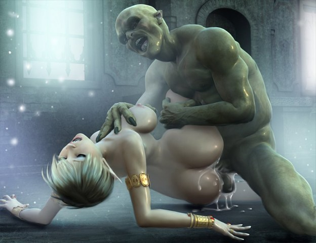 Horror orc fills sexy girl with sperm