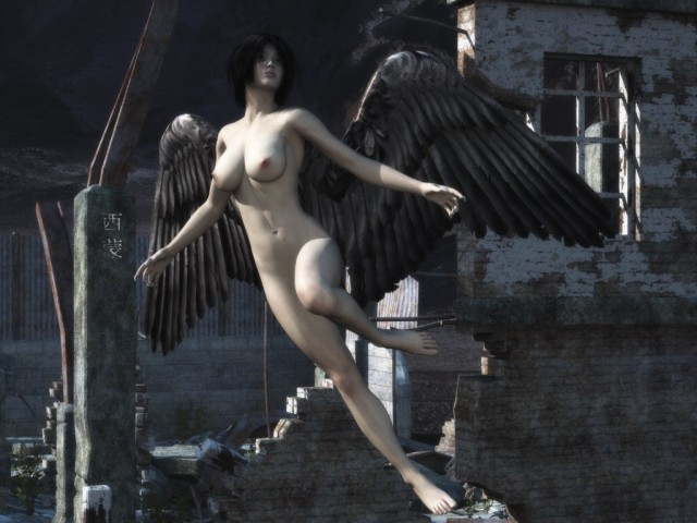 Nude dark angel with wide opened wings