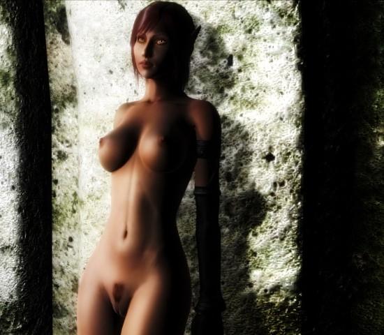 Smooth naked body of fantasy elf princess