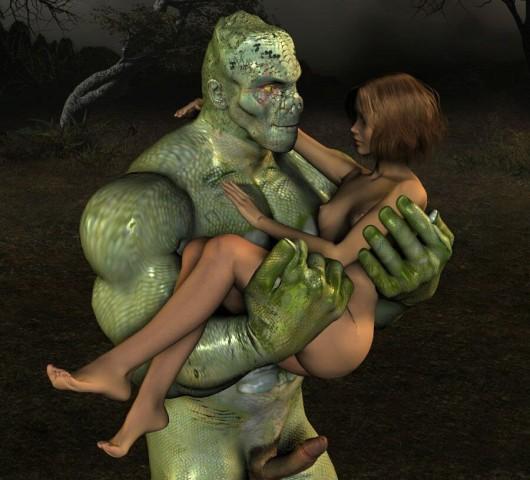 Snake face monstrul saves his lovely girl