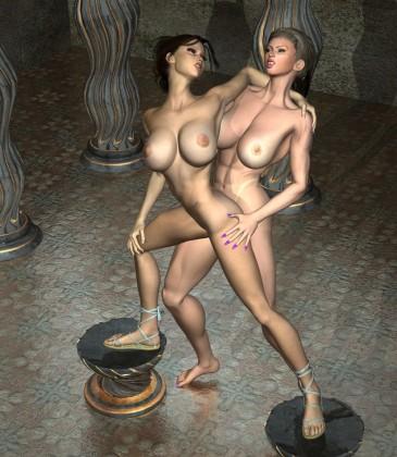 Busty lesbians kissing in pleasure chamber