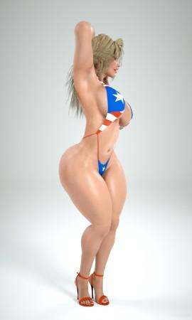 Crazy slut with skimpy bikini and fat butt