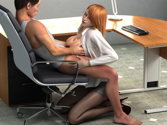 Public tit job by hot redhead in the office