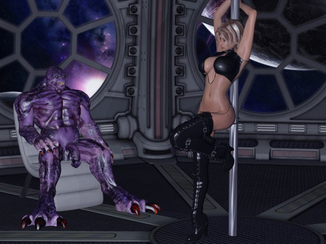 Sexy stripper pleases 3d space monster