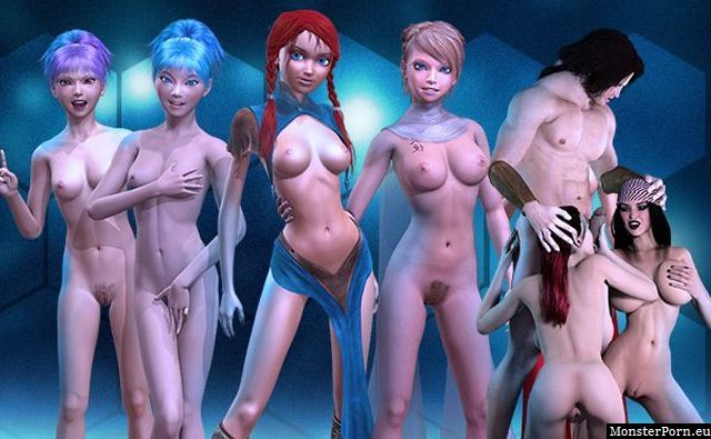 Manga girls with naked boobs in adult nude games 3d