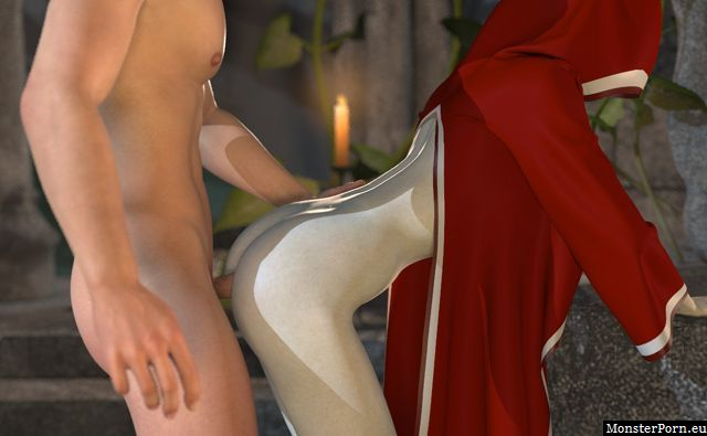 Sexy red riding hood girl fucked from behind in a game