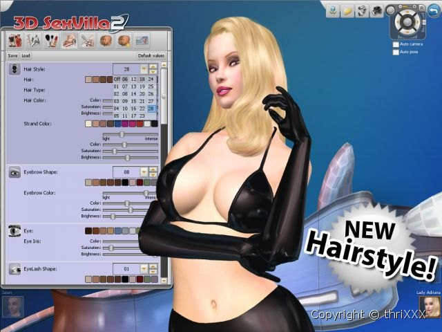 Erotic hairstyles in 3d porn game