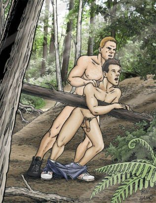 Two amateur cartoon gays fuck in the forest