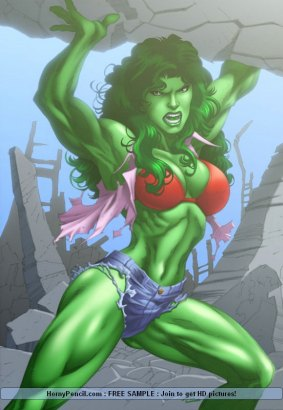 Hulk girlfriend shows muscled green body