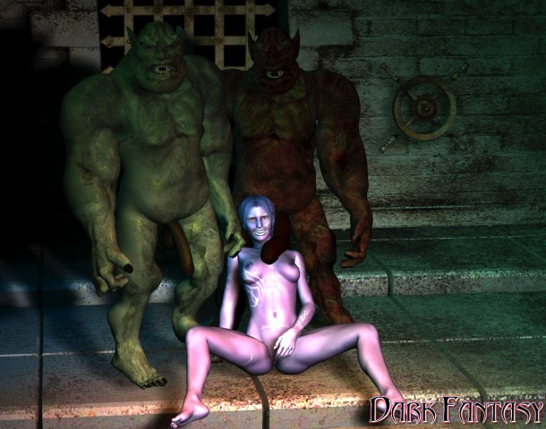 Fantasy slut masturbates for two monsters