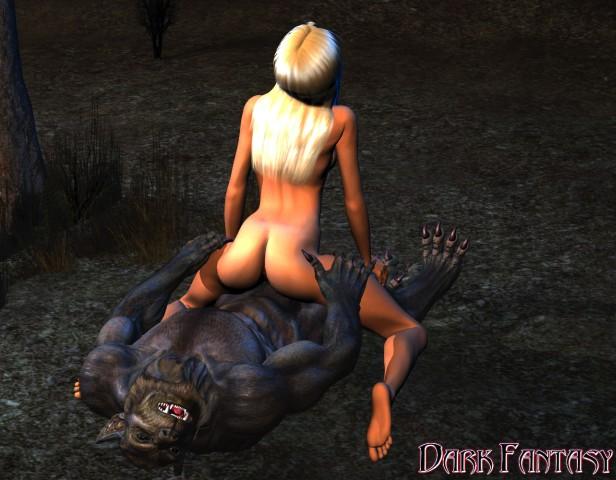 Sexy blonde rides a nasty werewolf