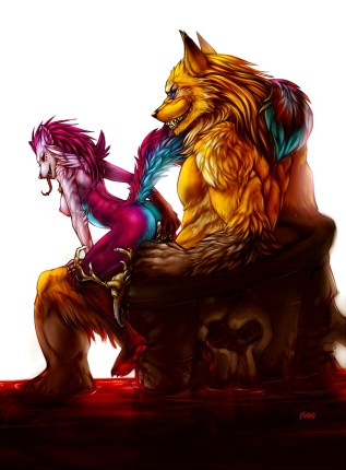 Angry lion fucks skinny fox frmale