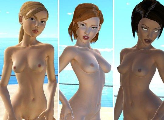 Three nude xxx lesbian models posing