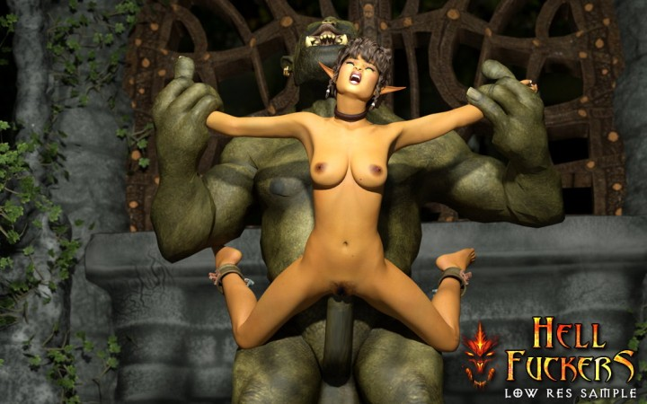 Green monster rips off naked slave elf